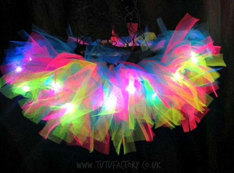 Rainbow Tutu Light Up Tutu EDM EDC Rave Club Wear Neon Tutu Adult Tutu Rainbow Brite Super Short Tutu