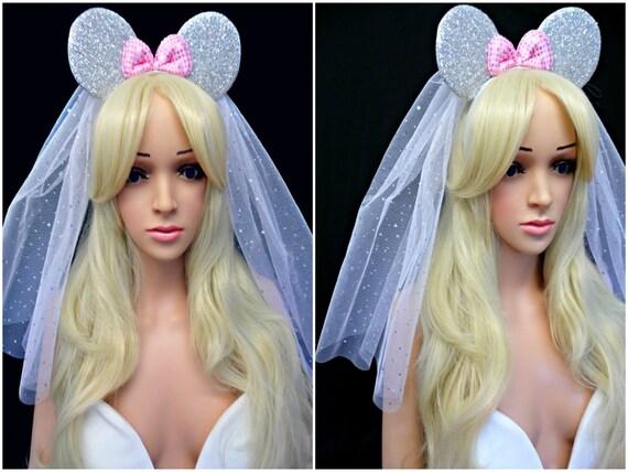 Disney Theme Minnie Mouse Ears Pink Headband Veil Hen Party Do Bride Wedding UK