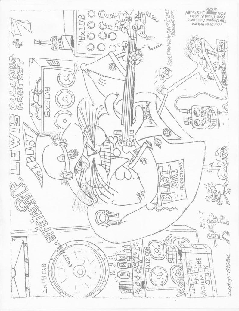 Coloring Contest number 7. Sore-Throat Guitar Amps 4 pages. image 0