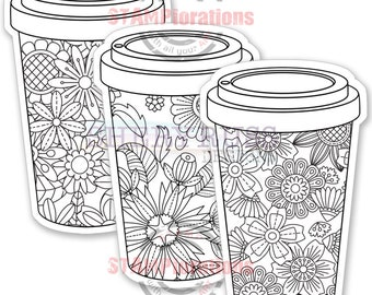 Floral Coffee Cups - Colorables Paper Goods