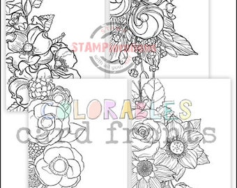 Color Me Blooms Spring Florals A2 Card Fronts - Colorables Paper Goods