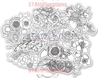 Color Me Blooms Spring Florals - Colorables Paper Goods