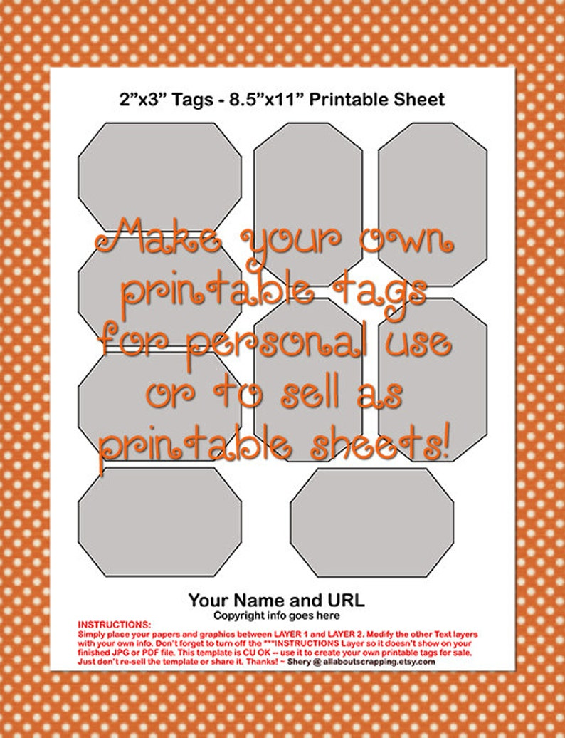 Printable Tags Labels Template 0022-2 in Commercial Use OK Instant Download by 3 in - DIY Digital Template in Photoshop Format