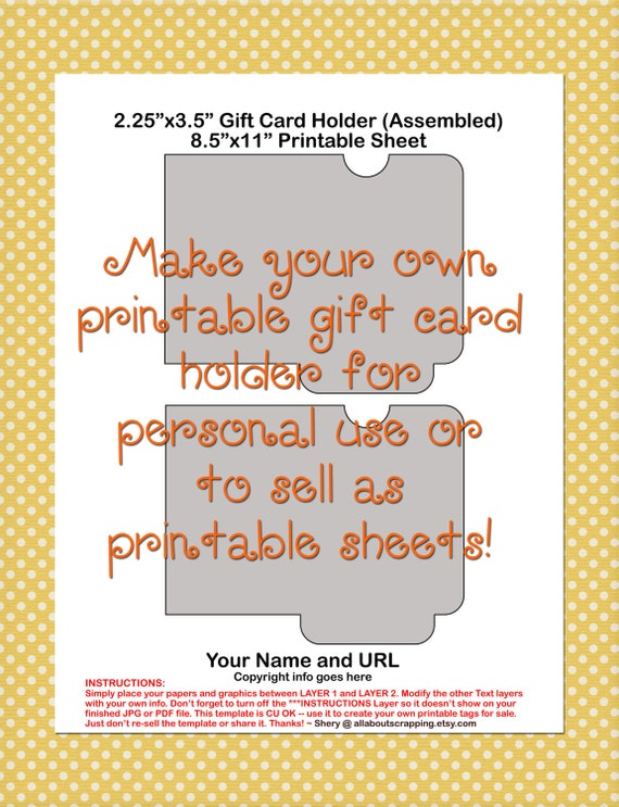 Printable Gift Card Holder Template 0027 Etsy