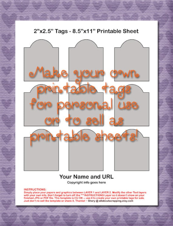 - DIY Digital Template in Photoshop Format Printable Tags Template 0006-2 in Instant Download by 2.5 in Commercial Use OK