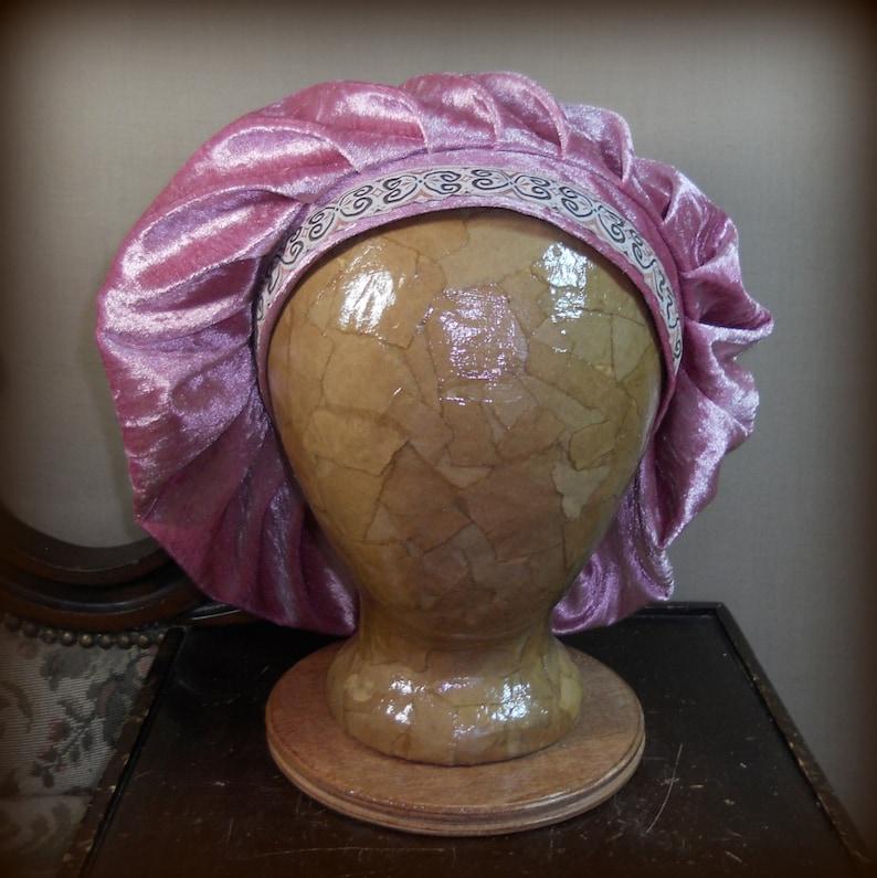 9813e7b79e6b4 Dusty Rose Renaissance Muffin Cap Medieval Caul Crushed