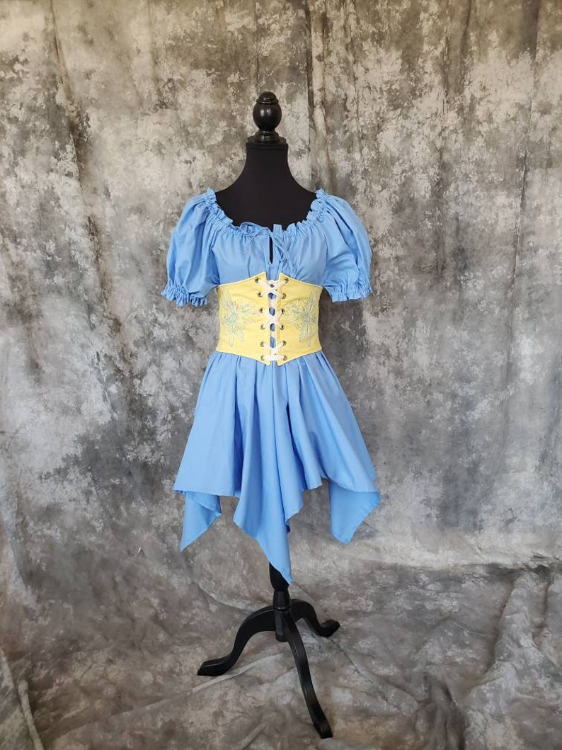 Fairy Waist Belt Corset Steampunk Pirate SCA LARP Fantasy Renaissance Costume Waist Cincher Yellow withTeal Embroidered Dragonfly