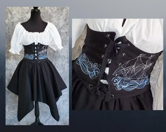 Renaissance Waist Cincher, Black With Embroidered Ship on the Sea, Pirate Waist Belt, Corset Steampunk,Fantasy, SCA, LARP, Costume