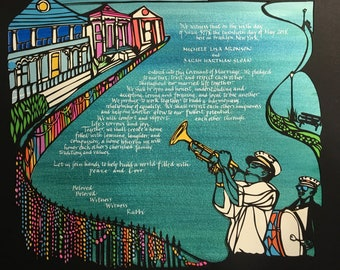 New Orleans Mardi Gras and New York Liberty multilayer multicolor papercut ketubah - hand lettering