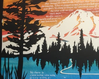 Mt Hood Magic Papercut Ketubah - hand lettering in Hebrew and English