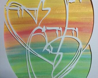 Heart to heart- I am my beloved's papercut artwork
