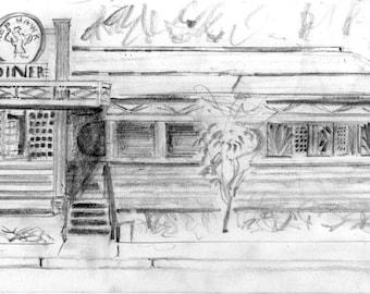 Montclair Red Hawk Diner - print of original pencil drawing - NJ  college campus - 8x10 inches
