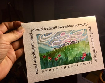 Blank card - Kropotkin quote - mutual aid and support must spread - 5x7