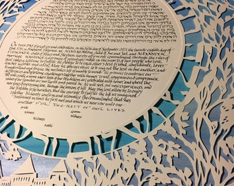 Ragnar Among the Cherry Blossoms - papercut ketubah hand lettering Hebrew English