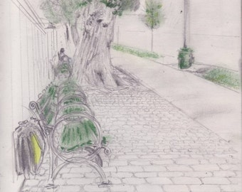 Morning on Amsterdam Ave - NYC - print of original pencil and pastel sketch - 8 x 10 inches