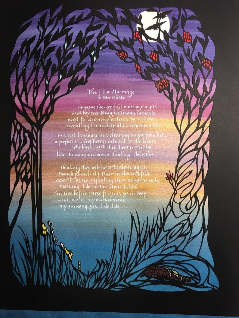 Papercut artwork - Anniversary or wedding gift - Trees at sunset with  pangolins - hand lettering of poem The First Marriage