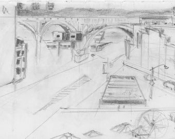 View from 125th St Subway Station - print of original graphite drawing - 8x10 inches