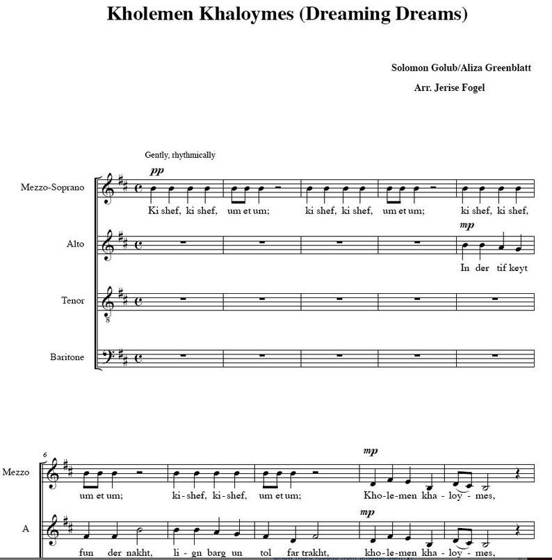 PIF - Kholemen Khaloymes - Dreaming Dreams - Yiddish choral arrangement -  sheet music PDF file