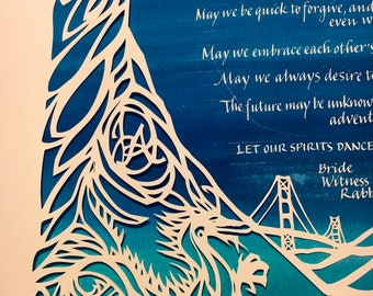 Moonlight Double Happiness Papercut Ketubah- hand lettering Hebrew English