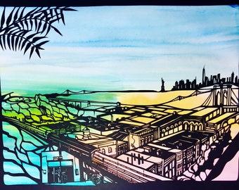 Daybreak over Brooklyn - papercut ketubah Hebrew and English calligraphy - handcut original design