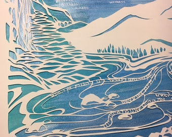 Two Rivers and Lights from the Same Star - papercut ketubah - hand lettering Hebrew and English