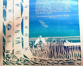 Birches and Herons papercut ketubah - canoe - cat - Hebrew calligraphy - wedding artwork