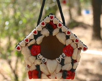 Miniature Hanging Bird House I love You Small Red White Bird House