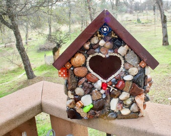Functional Stone Birdhouse Bird Lovers Gift, Large Birdhouse for Post