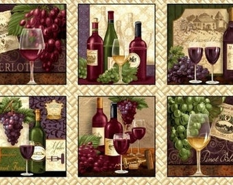 "Wine Bottle Grape Glass Beige Cotton Fabric QT Perfectly Vintage 24/""X44/"" Panel"
