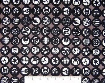 Halloween Fabric - Los Diablitos Medallion Smoke Brown - Alexander Henry YARD