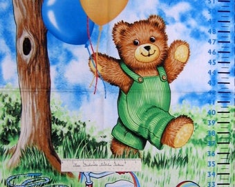"Nursery Baby Fabric - Corduroy Bear Growth Chart - Timeless Treasures 22"" Panel"