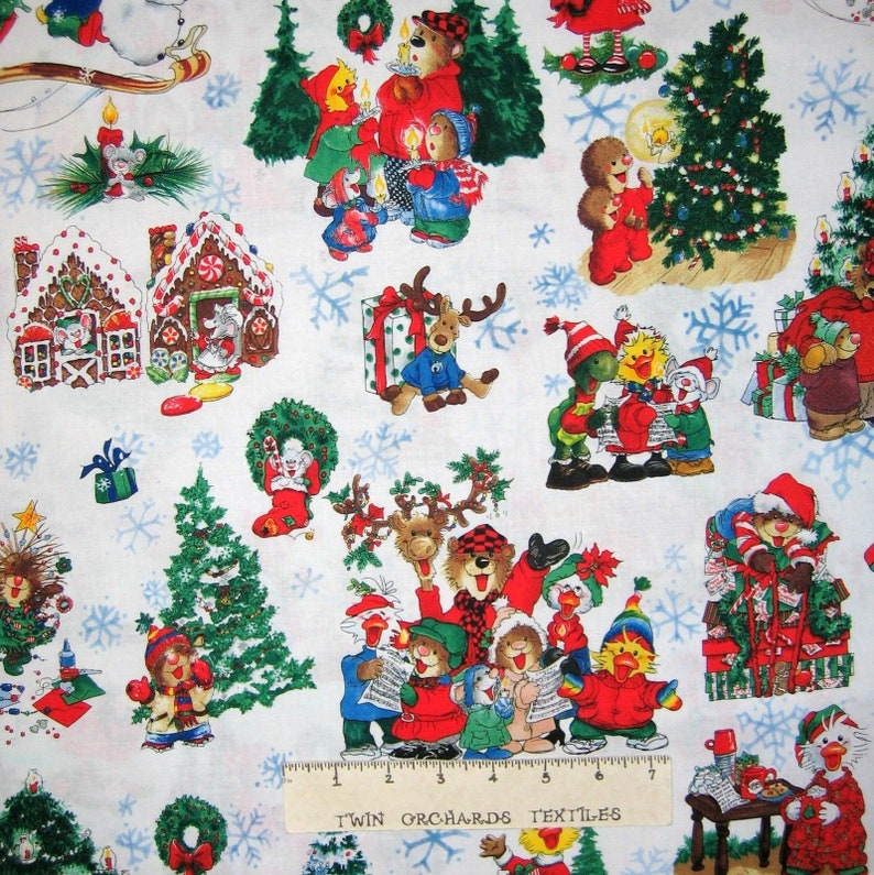 1 yard Santee Tossed Christmas Trees and Snowflakes on Red Fabric