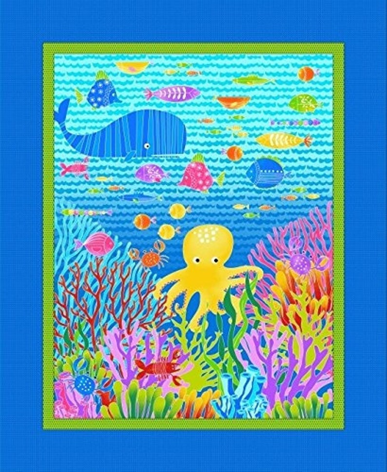 "Alpha Fish Octopus Crab Coral Nautical Scene StudioE 35/"" Fabric Panel"