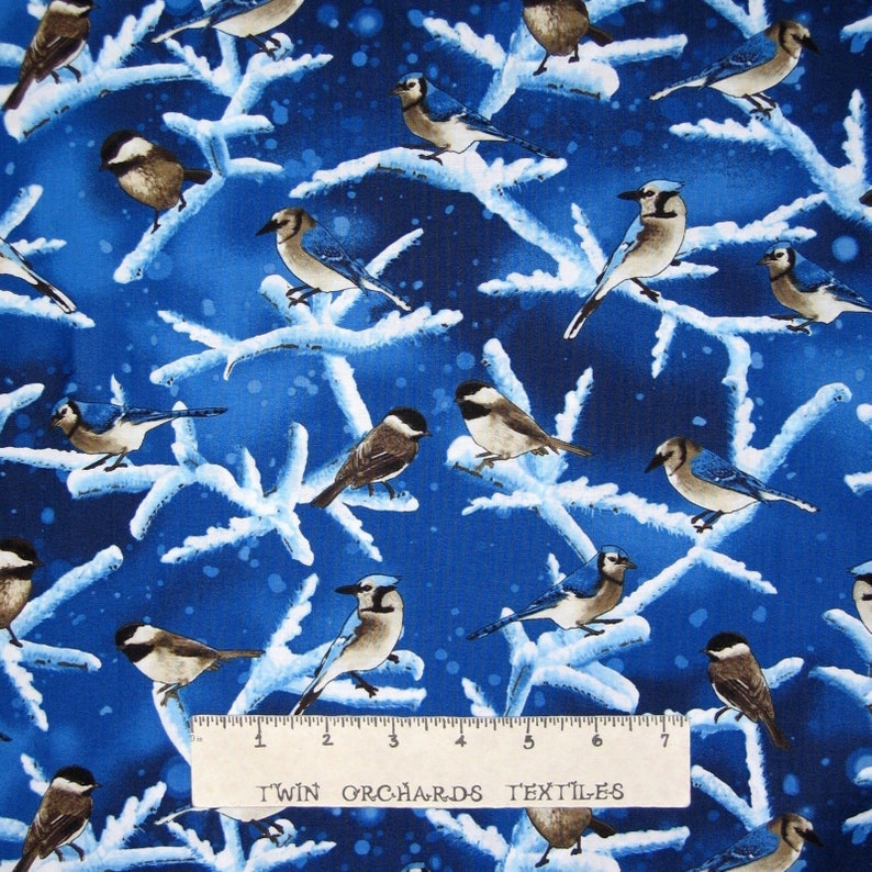 Christmas Fabric Winter Bluebirds with Glitter Timeless Treasures YARD