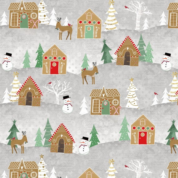 "Christmas Tree Wallhanging 23/"" Fabric Panel Wilmington Frosted Holiday"