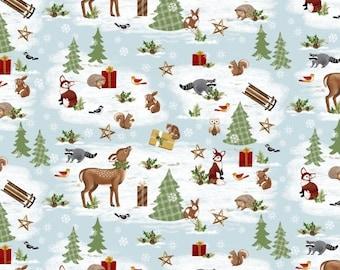 Christmas Fabric - Time of Wonder Woodland Deer Rabbit Scene - Blank Quilting YARD