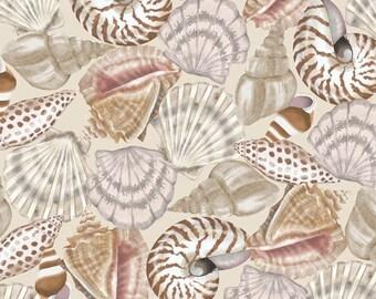 Nautical Fabric - Seaside Dreams Packed Seashells on Beige - Studio E YARD