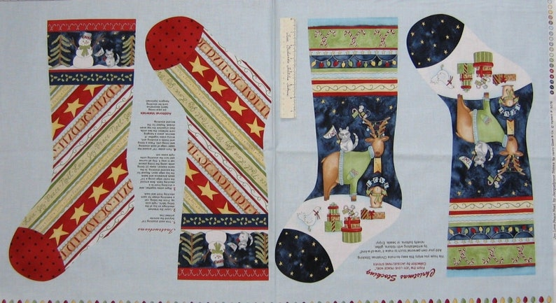 "24/"" Joy Love Peace Noel Stockings Henry Glass Christmas Fabric Panel"