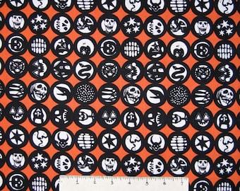 Halloween Fabric - Los Diablitos Medallion Orange - Alexander Henry YARD