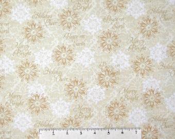 Christmas Fabric - Winter Bliss Beige Snowflakes & Words - Studio E YARD