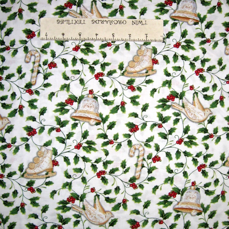 Studio E YARD Christmas Fabric Winter Bliss Beige Snowflakes /& Words