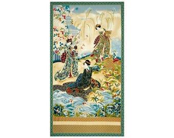 "24"" Fabric Panel - Robert Kaufman Imperial Collection Geisha Wallhanging Vintage"