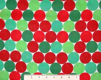 """Christmas Fabric - 1.5"""" Red & Green Big Dots Circles - Springs YARD"""