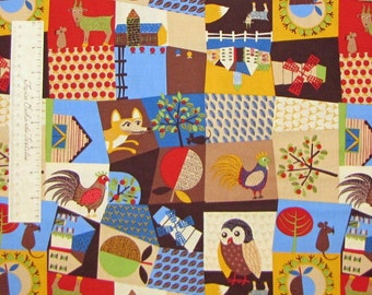 Owl Rooster Farm Crops Rustic Country - Timeless Treasures Cotton Fabric YARD