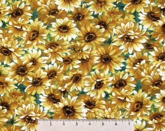 Fall Fabric - Little Sunflowers Packed on Green - Michael Miller YARD