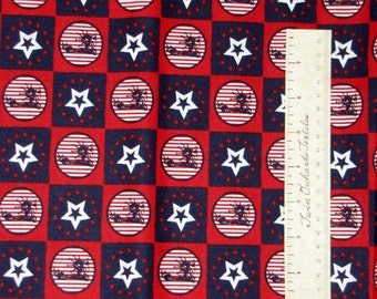 Red White Blue Statue Liberty Star - Americana Patriotic Fabric Cotton YARD