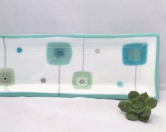 Mint Green/Aqua Green White Decorative Fused Glass Long Rectangle Plate Dish Mid Century Modern Squares Handmade