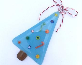 Fused Art Glass Christmas Tree Ornament Sky Blue