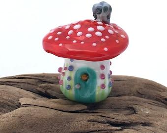 Tiny Red Mushroom Fairy House Bead Glass Lampwork Handmade for Jewelry, Collectible, Garden, Terrarium