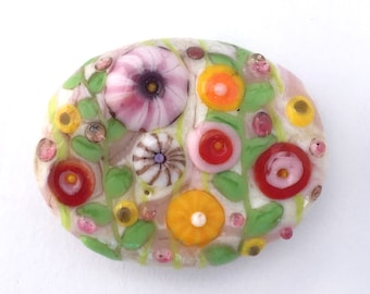 Pink & Cream Spring Garden Bead Glass Lampwork Handmade for Jewelry, Free US Shipping